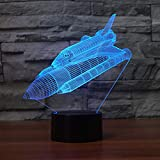 3D Luz De Noche Led LED de luz nocturna aerospace regalo de cumpleaños para jóvenes, niñas Con interfaz USB, cambio de color colorido