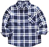 Toddler Baby Girl Boys Christmas Outfits Plaid Flannel Shirt Long Sleeve T-Shirt Tops Kid Clothes (D-Grey, 4 T)