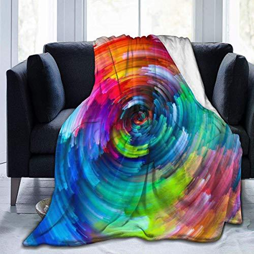 Manta de felpa suave arco iris para todas las estaciones, cálida, ligera, de viaje, térmica, de forro polar para sofá, cama, 127 x 102 cm