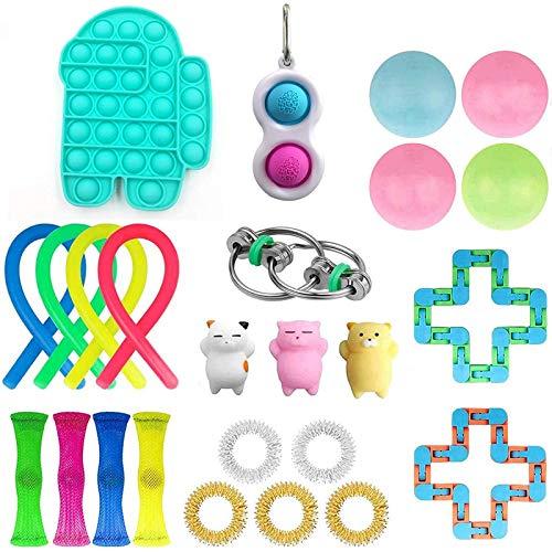 H1 24 pcs Fidget Juego, Paquete de Juguetes de Fidget Barato, Fidget Conjunto con Bola de estrés Malla de mármol Malla Push Pop Bubble Fidget Toy Sensory 25pcs Azul EntreDimple D