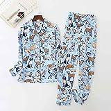 Pijamas Mujer Camisón Conjuntos De Pijamas para Mujer 100% Algodón De Manga Larga Pijamas Bonitos Ropa De Dormir Cuello Vuelto Mujer Sexy Homewear S Bluedog