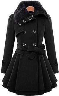Kadola Women Casual A-line Pleated Double Layers Hem Coat Outwear Wool & Blends