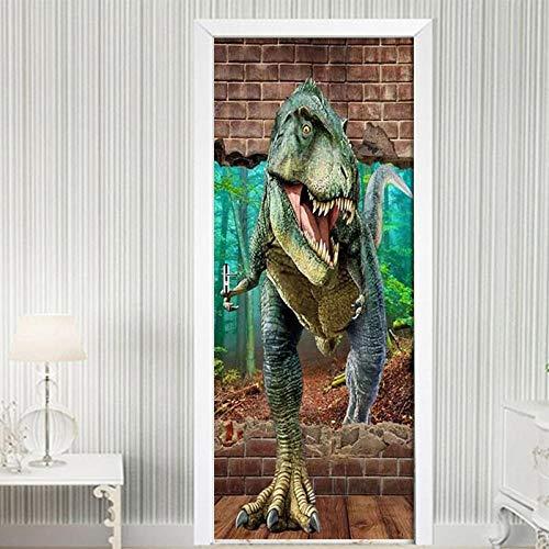 SXJWZH Pegatinas De Puerta 3D Jurassic Park Print Animal Dinosaurio Tiranosaurio 77X200Cm Puerta Etiqueta De La Pared Sala De Estar Cocina Pvc Autoadhesiva Etiqueta A Prueba De Agua En Las Puertas Wa
