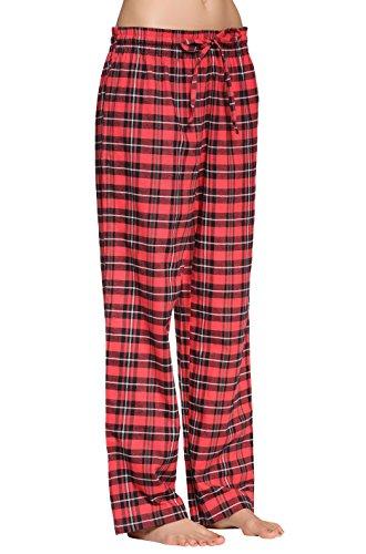 CYZ Women's 100% Cotton Super Soft Flannel Plaid Pajama/Louge Pants-F17003-S