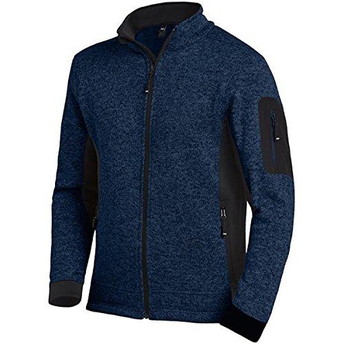 FHB 79595-1620-L Herren Strick-Fleece-Jacke Christoph Größe L in marine blau-schwarz, L