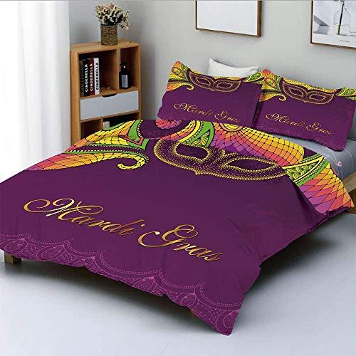 Juego de funda nórdica, adornos de esquina de estilo colorido de encaje Caligrafía y diseño de máscara punteada Juego de cama decorativo de 3 piezas con 2 fundas de almohada, verde amarillo púrpura, e