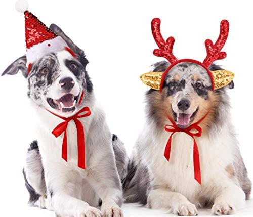 Color Changing Sequins Dog Santa Hat and Glittered Pet Antler Headband Set