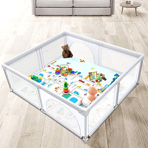 Baby Playpen with Play Mat, Yacul Extra Size Baby Gate Playpen Fence for Infant and Toddler, Safety Activity Center with Zipper Door, 38.75 sq. Ft Play Area