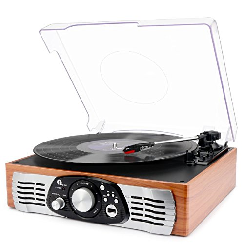 1byone Belt Driven 3-Speed Turntable With Built In Speakers