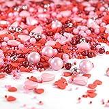 mySprinkles 180g Zuckerstreusel l'amour rosa rot Sprinkles - Streusel perfekt zum Backen und Plätzchen Deko für Weihnachten Kindergeburtstag Geburtstag Herzen Torte Kuchen Cupcakes
