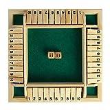 HshDUti Shut The Box Wooden Classic 4-Spieler Würfel Brettspiel Pub Weihnachten Tischspielzeug Board Spielzeug für Kinder Erwachsene Zahlen Lernen Strategie Risiko 2-4 Spieler Green