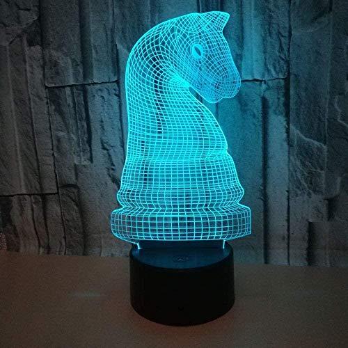 Échecs internationaux 3D veilleuse Led Illusion d'optique lampe chambre décoration 7 couleurs veilleuse lampe de table avec câble d'alimentation USB pour enfants anniversaire cadeaux de Noël