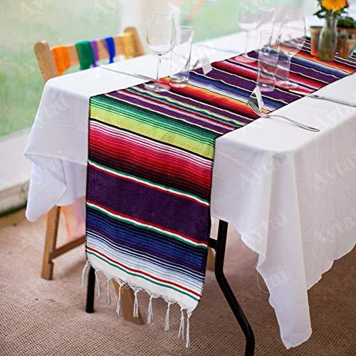 XdiseD9Xsmao heldere kleuren, zacht en duurzaam katoen, tafelloper, party, bruiloft, tafelkleed, kerstdecoratie Azul