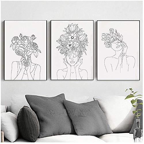 """RUIQIN Estampa de mulher de cabeça de planta com flores em preto e branco para decoração de sala de estar 30 x 40 cm/11,8"""" x 15,7"""" sem moldura"""