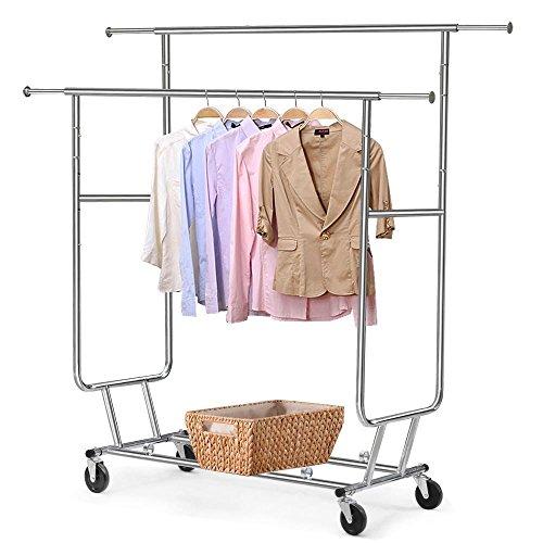 go2buy Commercial Clothing Garment Rolling Collapsible Rack Hanger Holder Double Rail