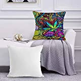 Ccstyle Funda de Cojín Funda de Almohada del Hogar Arte de Hierba de Hoja de Marihuana Multicolor Square Soft and Cozy Pillow Covers,