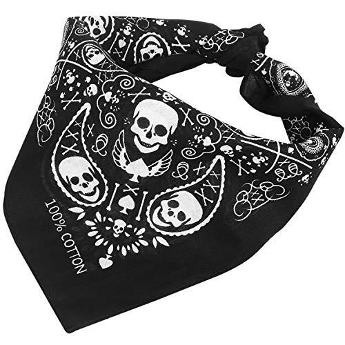 TRIXES Schwarze Bandana Schal Kopftuch beidseitig Bedruckt im Totenkopf-Design mit kariertem Rand
