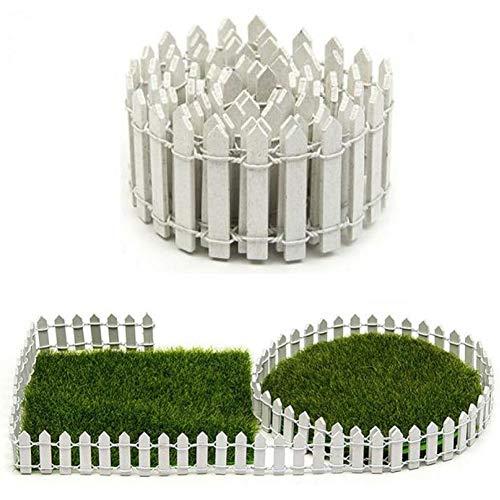 PiniceCore Valla Miniatura Hada del jardín Juego de Madera para terrario casa de muñecas DIY Accesorios de decoración Blanca 90X5cm