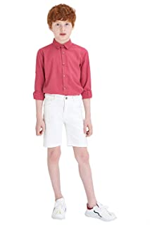 DeFacto Button Down Roll-Up Long Sleeves Cotton Shirt for Boys