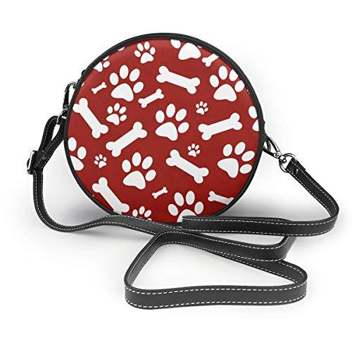 Sacs à bandoulière pour femme Sac rond à bandoulière en cuir rouge et blanc pour chien avec patte de chien