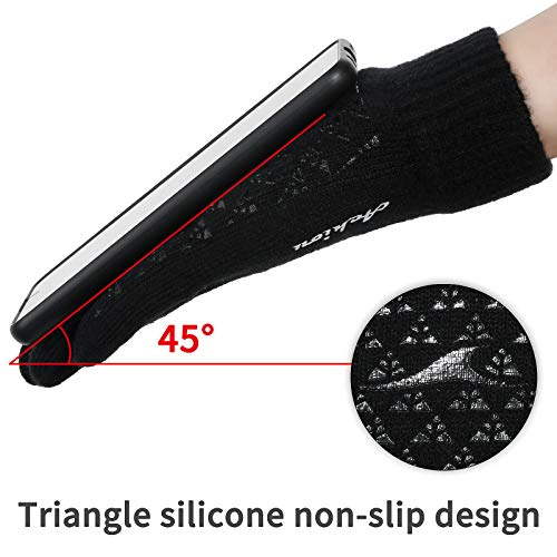 Achiou Winter Knit Gloves Touchscreen Warm Thermal Soft Lining Elastic Cuff Texting Anti-Slip 3 Size Choice for Women Men New Mexico