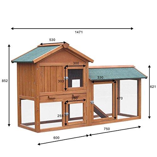 Hasenstall Kaninchenstall Kaninchen-Käfig Hasen-Käfig Kleintier-Stall Freilauf Kleintierkäfig - 2