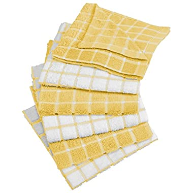 DII Cotton Terry Windowpane Dish Cloths, 12 x 12  Set of 6, Machine Washable and Ultra Absorbent Kitchen Bar Towels-Yellow