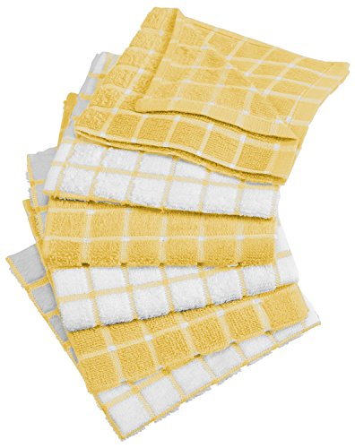 """DII Cotton Terry Windowpane Dish Cloths, 12 x 12"""" Set of 6, Machine Washable and Ultra Absorbent Kitchen Dishcloth-Yellow"""