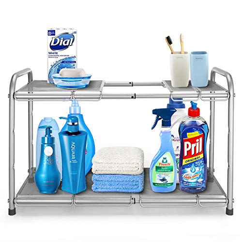 Simple Trending 2-Tier Under Sink Expandable Cabinet Shelf Organizer Rack with 8 Removable Panels for Kitchen Bathroom Storage, Silver