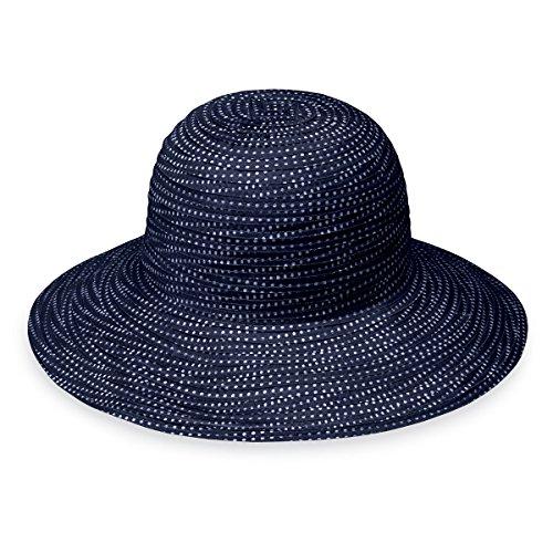 Wallaroo Hat Company Women's Petite Scrunchie Sun Hat – Navy/White Dots – UPF 50+