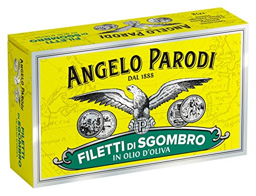 Angelo Parodi Mackerel Fillets in Pure Olive Oil | 4 Pack | Imported from Italy | Wild Caught | Hand Selected | Gourmet All Natural | Premium Fish in 4.40 oz Can (125 Gram)