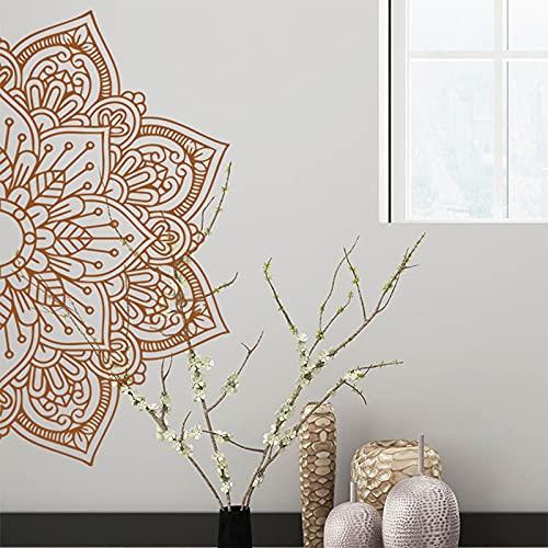 Moitié Mandala Autocollant Mural, Bohème Indien Mandala Bonjour Fleur Murale Sticker, Tête de lit Maître Chambre Bohémien Décor, Lotus Yoga Méditation Murals Décor pour Chambre, Mur de télévision