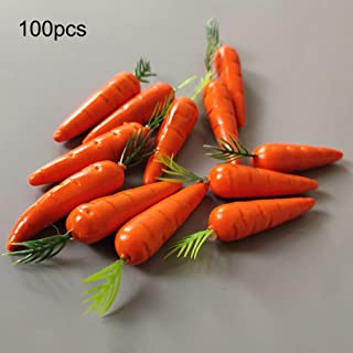 Moonvvin 人参 食品 サンプル 模型 ディスプレイ 野菜 果物 おままごと 学校 行事 果物屋などに 本物そっくり 撮影道具 飾り オブジェ 置く物 オーナメント 100PCS
