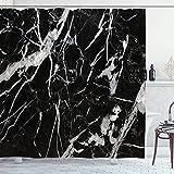 EURmermaid Cortina de la Ducha,Muchos Blancos Naturales Estampados de mármol Negro Marquina intrínseco Abstracto,con 12 Ganchos de plástico Cortinas de baño Decorativas 72x72 Pulgadas