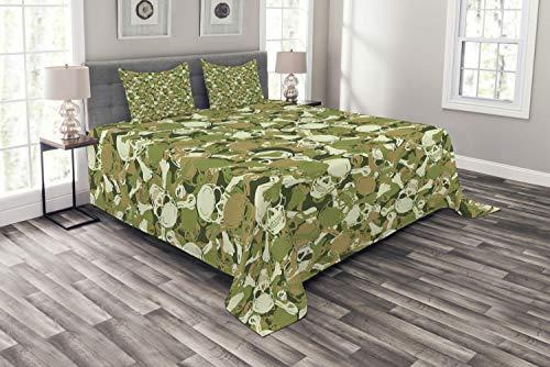 ABAKUHAUS Schädel Tagesdecke Set, Sketchy Spuk Camouflage, Set mit Kissenbezügen Sommerdecke, für Doppelbetten 220 x 220 cm, Hellgrün Hellbraun Grün