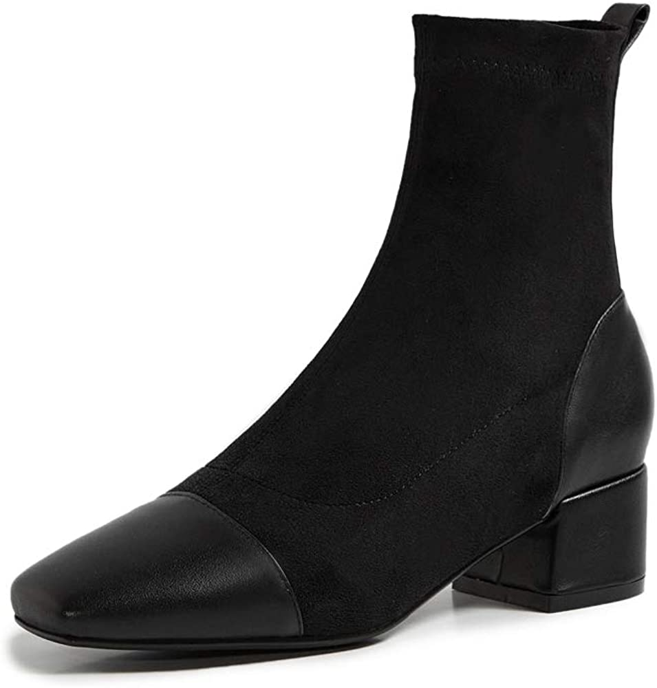 TinaCus Genuine & Suede Leather Women's Square Toe Low Chunky Heel Handmade Slip On Mid Calf Dress Boots