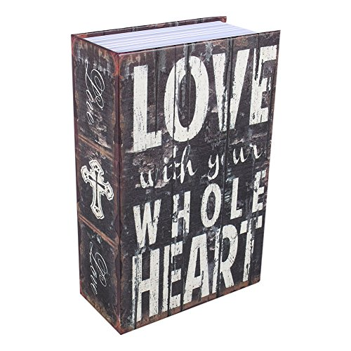 Caja Fuerte Libro, Haofy Cajas Seguridad en Forma de Libro, Caja Almacenamiento Pequeña para Poner Joyas, Monedas, Dinero, Objetos de Valor (Love Style)