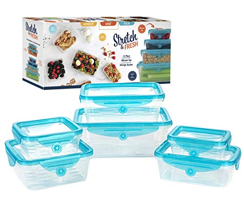 STRETCH and FRESH by Emson, Silicone Food Storage System, Airtight for Solid Food, and Leak-Proof for Soups and Sauces, Freezer-Safe, BPA-Free, As Seen On TV (12)