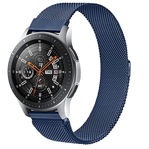 Oumida 22mm Bracelet en Acier Inoxydable pour Samsung Galaxy Watch 46mm/Galaxy Watch 3 45mm/Gear S3 Frontier/Classic/Moto 360 2nd Gen 46mm/Huawei Watch GT/GT 2 46mm/GT2 Pro/GT2e (Bleu marin, 22mm)
