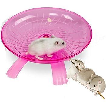 Yiteng ペット用品 ハムスター 回し車 走る おもちゃ ストレス解消 ケージアクセサリー フライングソーサー回し車 (ピンク)