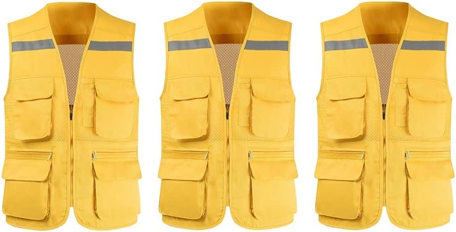 Max 51% OFF lhl Bright Reflective Vest High Mesh Multifunctional Max 78% OFF Pock Zipper