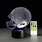 Veilleuse Lumière de Nuit, Dessin animé Illusion 3D, Casque de Baseball Rugby Night Light Illusion Optique Lampe Mood Tactile Télécommande 7 s Couleur Home Light Party