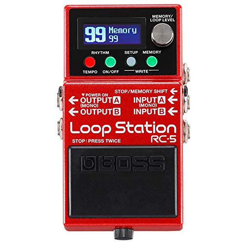 Boss RC-5 Looper Pedal + keepdrum Patch Cable Rojo 30 cm