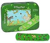 Unbekannt 20 Pflaster mit Wildtiere - Motiv in Metall Box - Pflasterbox Dose bunt Kinderpflaster Zootiere Elefant Giraffe AFFE Tiger - für Kinder und Erwachsene Mädchen..