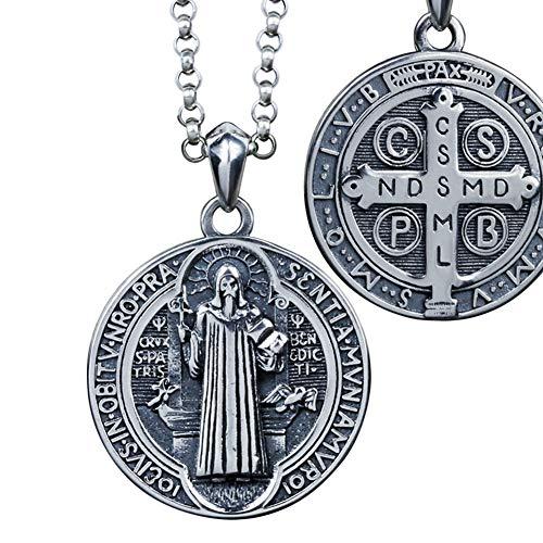 TIZIKJ Base en Tonos de Plata Escapular Sagrado Corazón Jesús Nuestra Señora del Monte Carmelo Medalla Colgante Collar para Hombres 925 Joyas de Plata esterlina,70cm