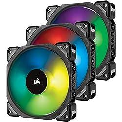 Corsair ML120 Pro Ventola Premium a Levitazione Magnetica, Bassa Rumorosità ed Elevata Pressione Statica, ML Pro 120 mm, Confezione da 3 con Lighting Node & Hub, Nero/RGB