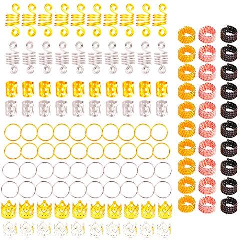 130 Pièces Dreadlocks de Cheveux en Aluminium, Perles de Tressage de Cheveux de Poignets en Métal, Accessoires de Décoration de Cerceaux D'anneaux de Cheveux