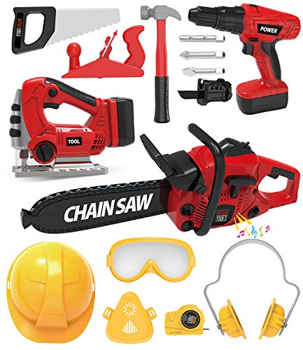 Kids Tool Set with Electric Toy Drill Chainsaw Jigsaw Toy Tools, Realistic Kids Power Construction Pretend Play Tools Set Toy STEM Playset Toddler Toys Kit for Toddler Boy Girl Kid Child Tool Set Toy