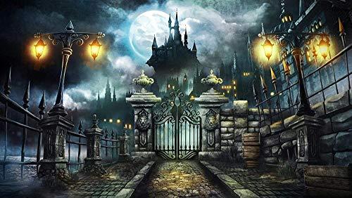 YYTTLL Igsaw Puzzle 1000 Stück Halloween Street Lamp Castle Geeignet Für Teenager Und Erwachsene Holzpuzzle Einzigartige Heimdekorationen Und Geschenke 75X50Cm