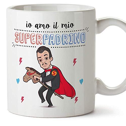 Mugffins Padrino Tazza/Mug –'Io Amo Il Mio Super Padrino' – Idea Regalo Giorno di Pasqua/Battesimo - Tazza Miglior Padrino in Ceramica. 350 ml